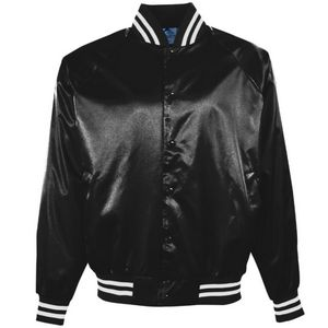 Custom Adult Satin Baseball Jacket w/Striped Trim