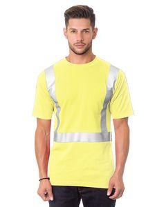 Custom Hi Visibility Short Sleeve Pocket Tee Shirt Solid Striping 100 percent Cotton Shirt