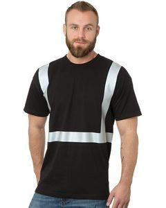 Custom Hi-Visibility Short Sleeve T-Shirt Solid Striping 100 percent Cotton Shirt