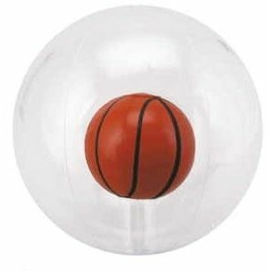 "16"" Inflatable Transparent Beach Ball w/ Inflatable Basketball Insert©"