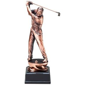 "Golfer Copper Resin Award with Black Base (11"")"