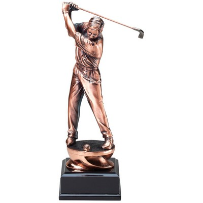 Golfer Copper Resin Award with Black Base (11