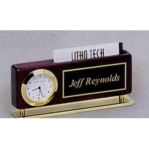 "Rosewood Finish Clock/ Business Card Holder/ Name Plate (2 3/8""x5 7/8"")"