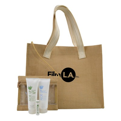 Jute Beach Bag with Cosmetic Bag & White Line