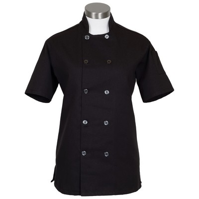 C100PS Women's Short Sleeve with Side Vents Chef Coat Black (2X Large)