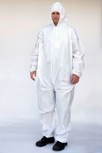Custom PC127 White Protective Hooded Coveralls w/ Zipper Front (Medium)