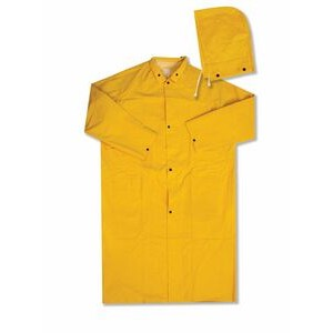 "4148 Yellow PVC Polyester 48"" Raincoat w/ Detachable Hood (2X-Large)"