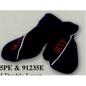 Adult Promotional Polar Fleece Solid Double Layer Mittens w/Piping