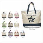 Custom Q-Tees Natural Beige Canvas Zipper Tote Bag