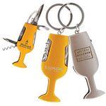 Custom Wine Glass Multi-Function Pocket Knife w/ Key Ring