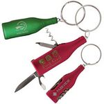 Custom Bottle-Shaped Multi-Function Pocket Knife w/Key Ring