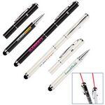 Custom 3-in1 Soft Touch Stylus & Laser Pointer/Ballpoint Pen