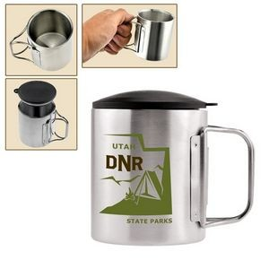 7.4 Oz. Double Wall Stainless Steel Camping Cup w/Foldable Handle