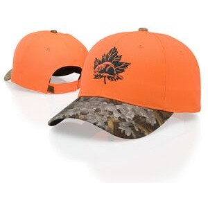 Blaze Orange Crown Cap w/ Camo Visor & Button Cap