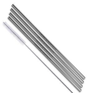 Silver Stainless Steel Straws (Qty 4)