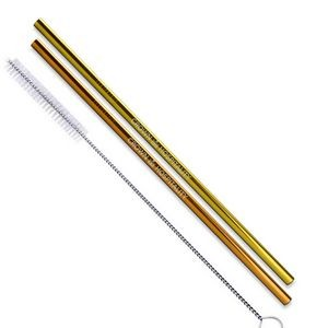 Gold and Copper Stainless Steel Straws (Qty 2)