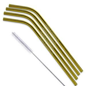 Copper and Gold Stainless Steel Straw (Qty 4)