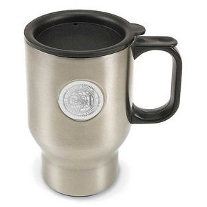 Brushed Stainless Steel 12 Oz. Coffee Travel Mug - Silver Medallion