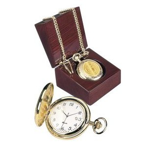 Men's 5 Micron 18k Gold Plated Pocket Watch