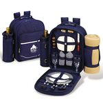 Custom Bold Picnic Backpack Cooler for Two with Blanket