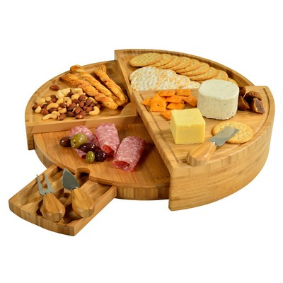 Vienna Multi Level Bamboo Cheese Board with Knife Set