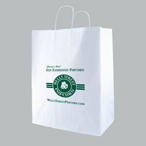 "White Kraft Shopping Bag (13""x7""x17"")"