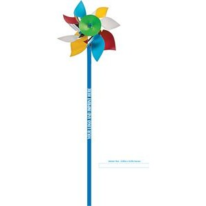 "Pinwheel w/ Logo, BEACH BALL COLORS Plastic 4"" dia"