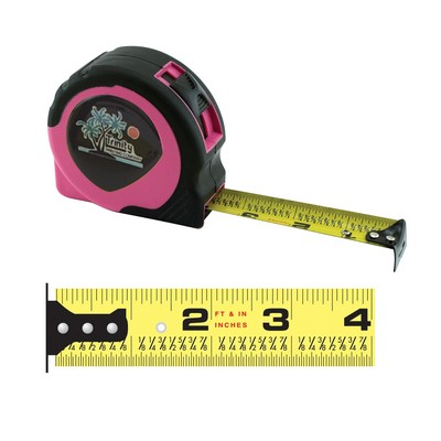 Women's Pink Power Tape Measure w/Laminated or Dome Label (25'x1