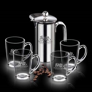 French Coffee Press & 4 Dundas Mugs