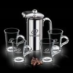 Custom 26 Oz. French Coffee Press w/ 4 Selkirk Mugs