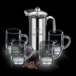 Custom 26 Oz. French Coffee Press w/ 4 Haworth Mugs