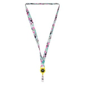 "3/4"" LA-460 Attachment HT Sublimation Lanyard w/Retractable Badge Holder (Direct Import - 10 Weeks"
