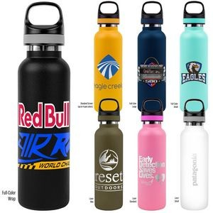 Vacuum Insulated Water Bottle With Powder Coating, Copper Lining And Twist Off Cap With Carry Handle