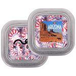 Custom Medium Clear Top Square Tin - Starlite Peppermint Candy