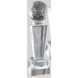 Sport Crystal Award w/ Golf Ball