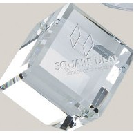 "Crystal Cube Paperweight (3"")"