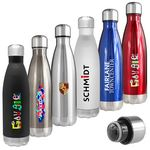 Custom Atlantis 17 Oz. Double Wall Vacuum Insulated Stainless Steel Bottle (black)