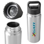 Custom Summit 20oz Double Wall Vacuum Insulated 18/8 Stainless Steel Bottle (Silver)