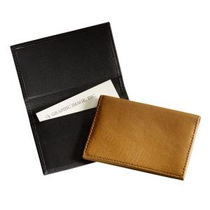 Fold-Over Business Card Case - Traditional Leather