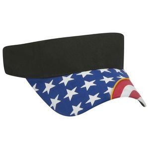 OTTO United States Flag Pattern w/ Yellow Piping Visor Ultra Fine Brushed Cotton Twill Sun Visor