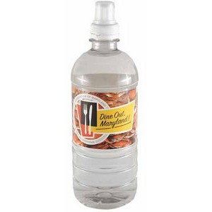 20 Oz. Custom Labeled Bottled Spring Water w/Sport Cap