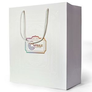 "210g C1S paper bag with foil imprint on all sides (6.25*8*2.5"")"