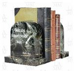 Custom Pair Of Black Zebra Marble Arch Bookends