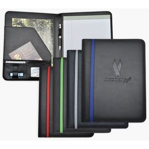 Letter Size Writing Pad Folder/Padfolio, Black soft simulated Leather with color stripe.