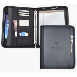 "Zippered Letter Size ring binder/Portfolio, 1"" Ring Binder. Black soft simulated leather."