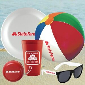 CUP-FUN-KIT-5 - Stadium cup, Beach Ball, Flying disc, Yoyo & Sunglasses