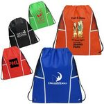 Custom Non Woven Drawstring Backpack W/ Mesh Panels