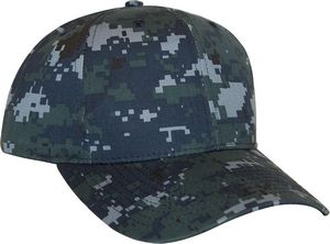 Custom Navy Digital Camo 6 Panel Cotton/poly Structured Cap