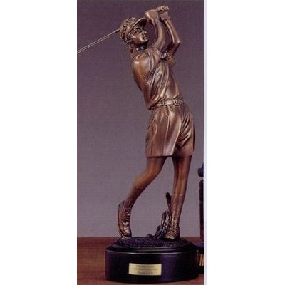 "Lady Golfer In Shorts Back Swing Trophy w/ Round Base (3""x9"")"