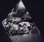 Custom Crystal Pyramid Paperweight w/ Recessed Globe on Bottom (2
